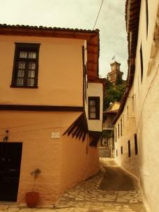 Μέρος του παραδοσιακού οικισμού του Βαρουσίου στα Τρίκαλα, με τον πύργο του ρολογιού στο βάθος (© Α. Μωυσιάδης).